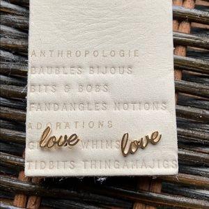"Anthropologie ""Love"" earring posts"